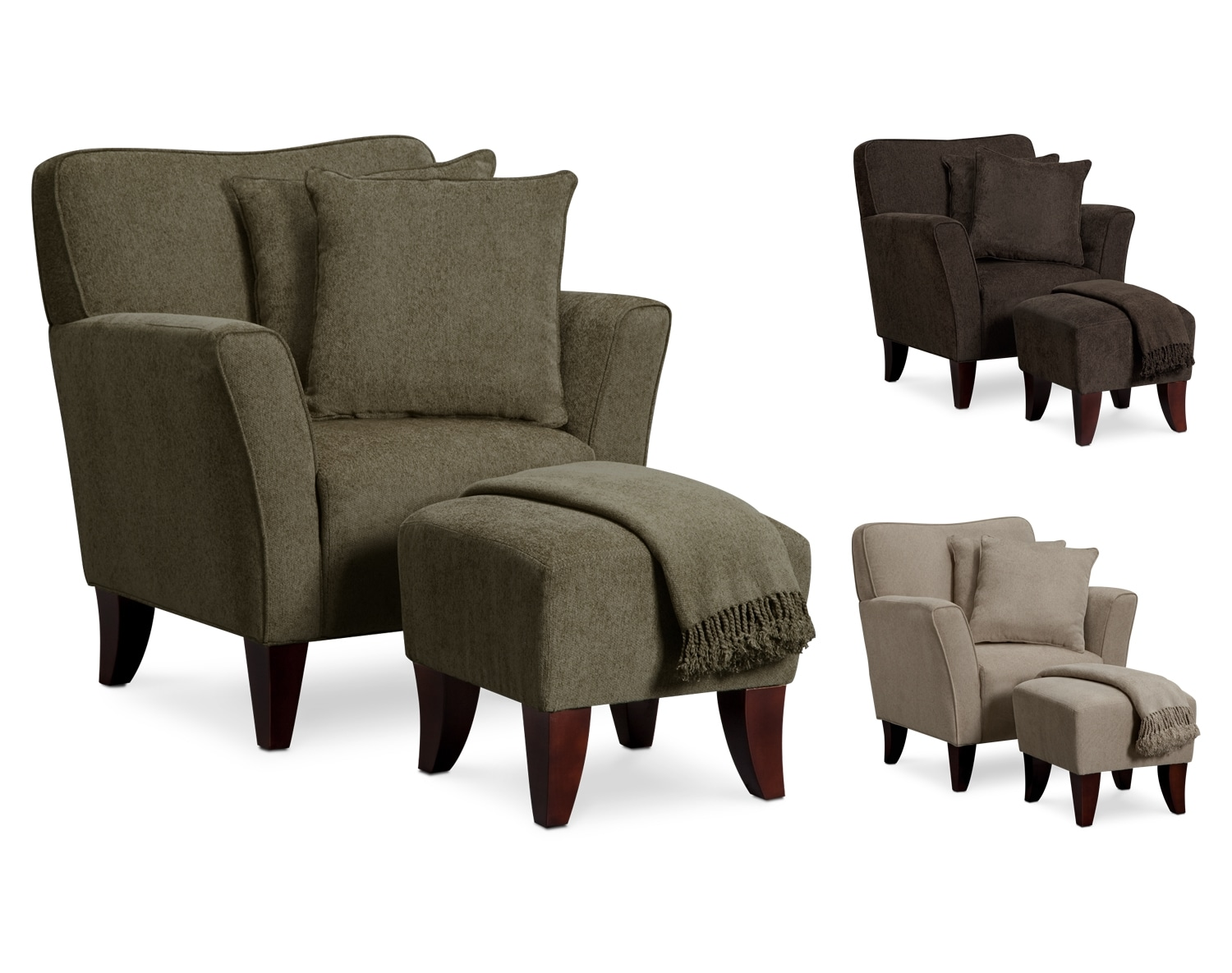 Living Room Furniture - The Dorset Collection - Chair Set w_ Pillows and Throw