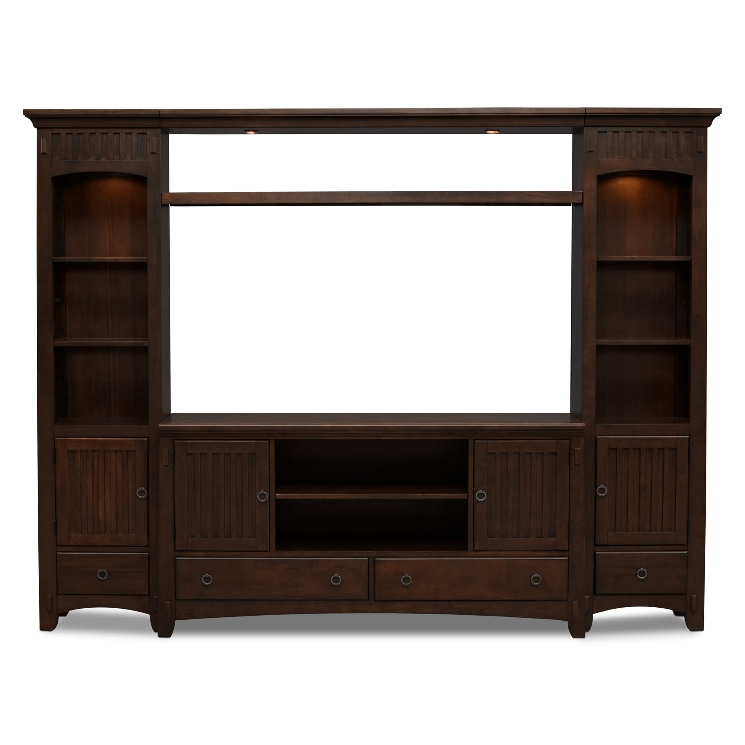 Arts crafts 4 piece entertainment wall unit chocolate Wall unit furniture