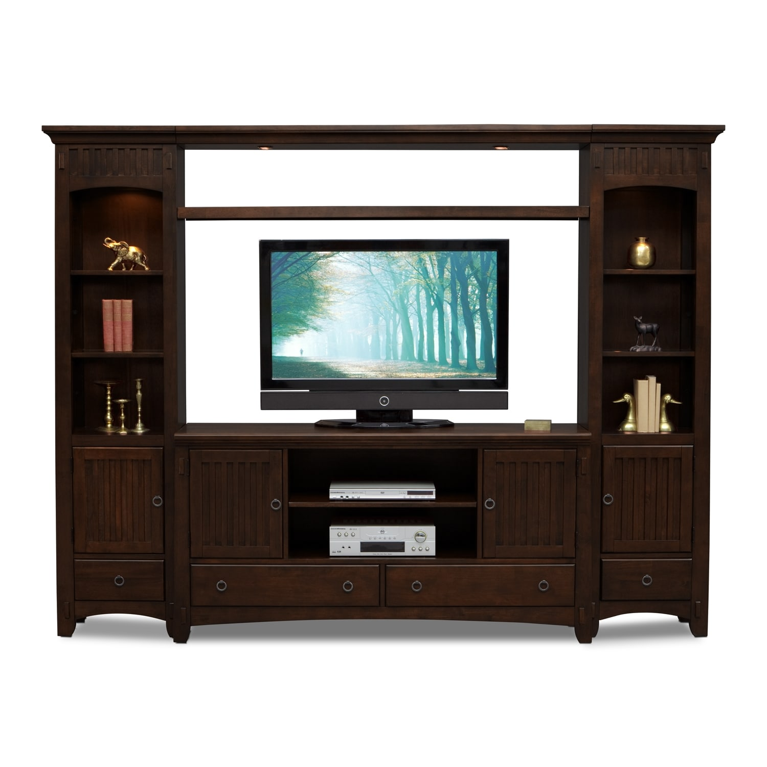 Arts crafts dark ii entertainment wall units 4 pc Wall unit furniture