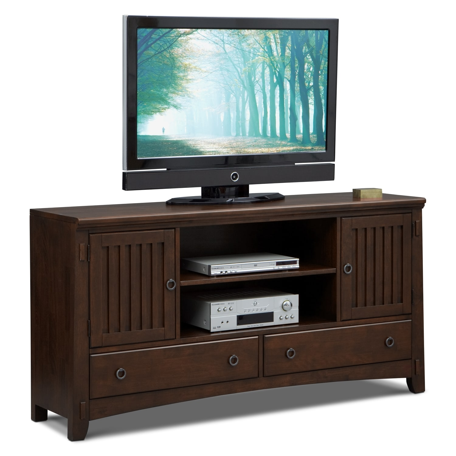 Arts crafts 4 piece entertainment wall unit chocolate for Mission style entertainment center plans