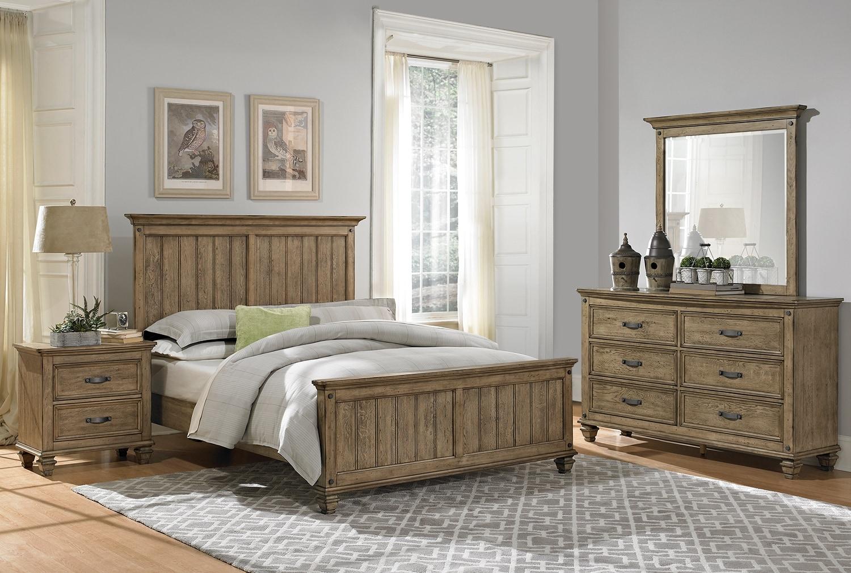 Bedroom Furniture - Hartwell 5-Piece King Bedroom Set - Brown Driftwood