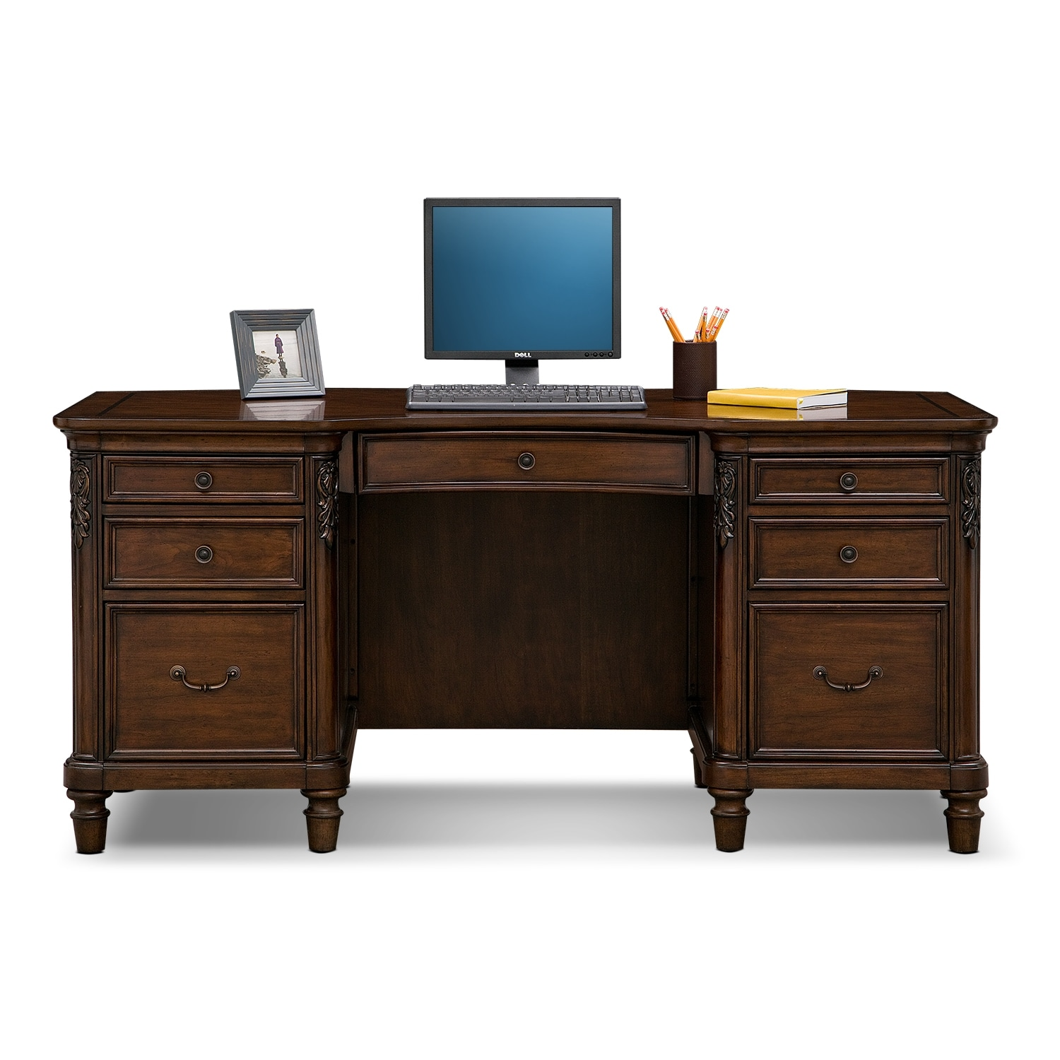 Ashland Executive Desk Cherry Value City Furniture