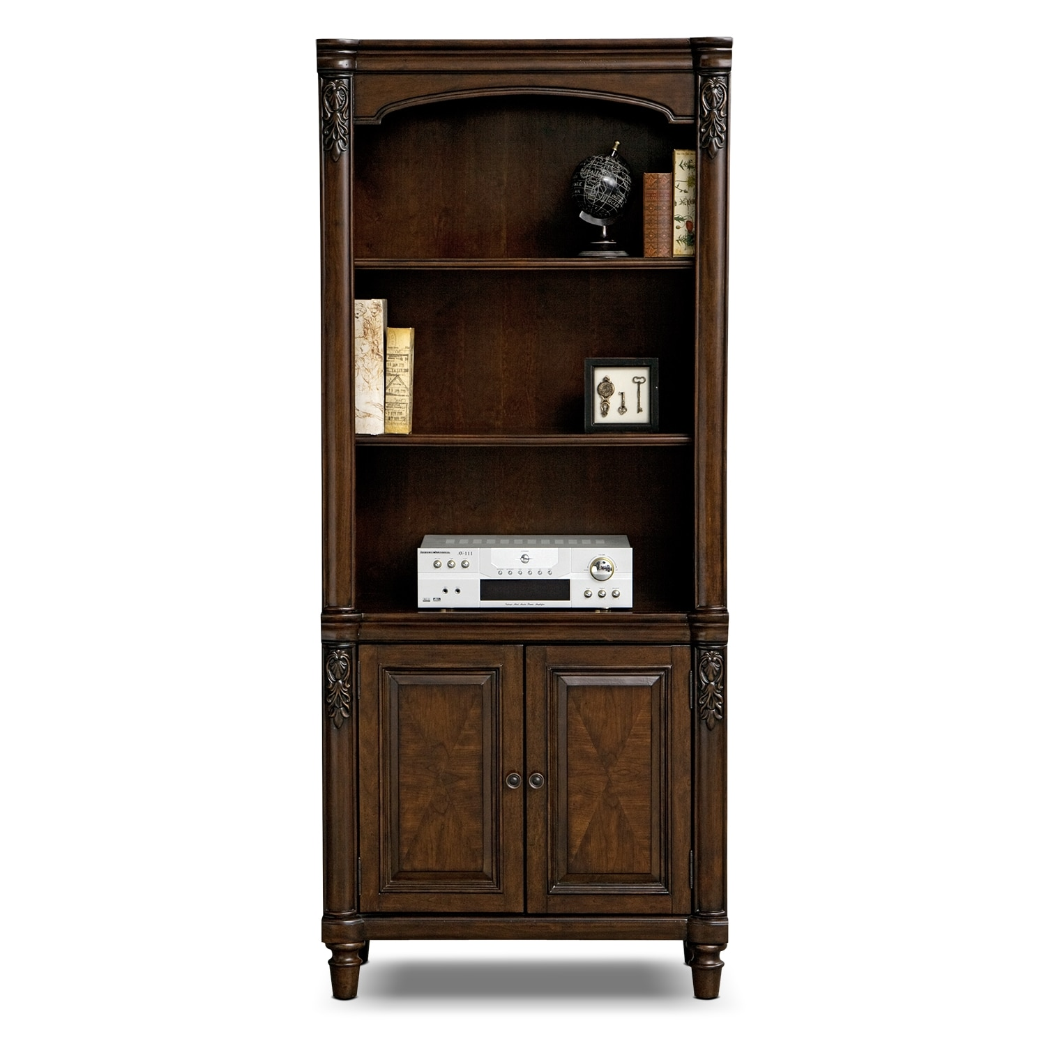 Ashland door bookcase cherry value city furniture for Door furniture