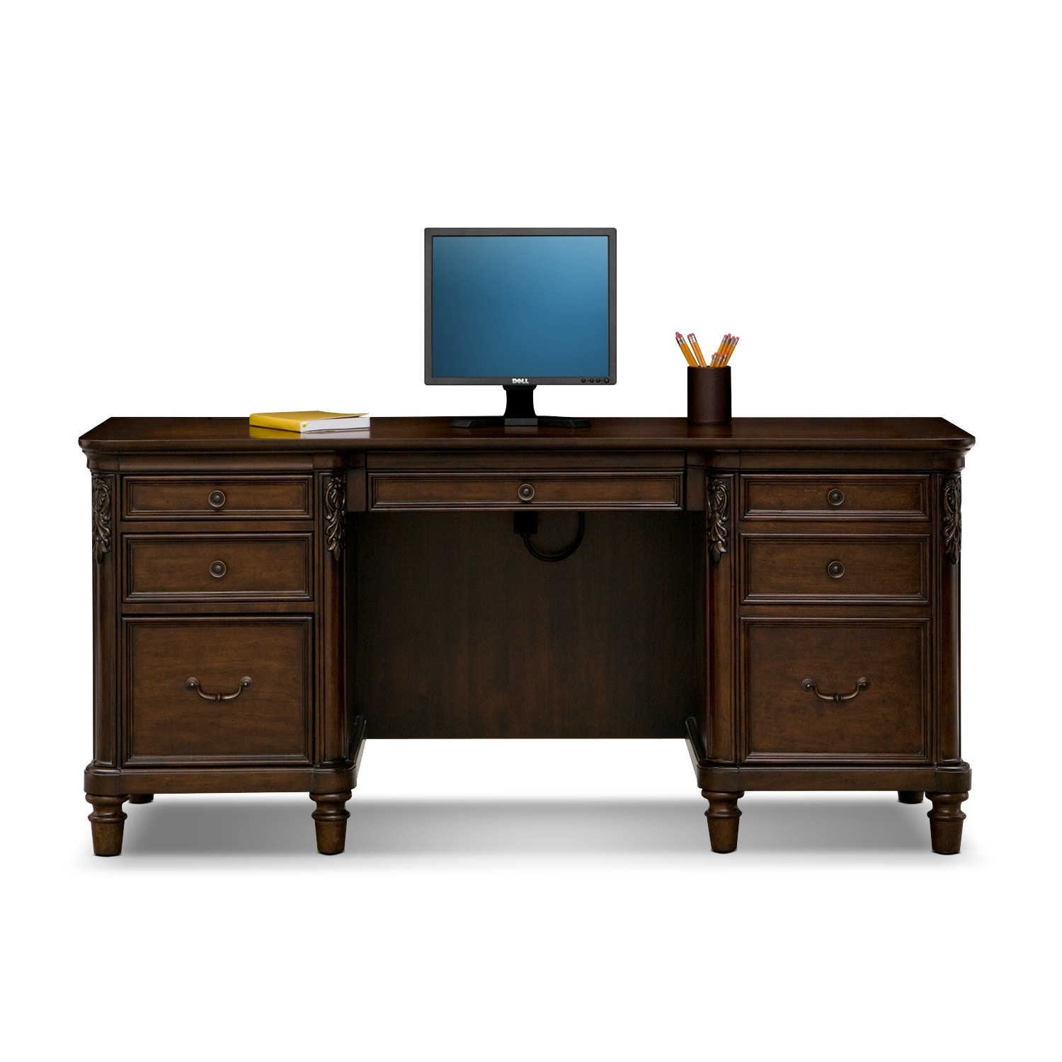 Ashland Credenza Desk Cherry American Signature Furniture