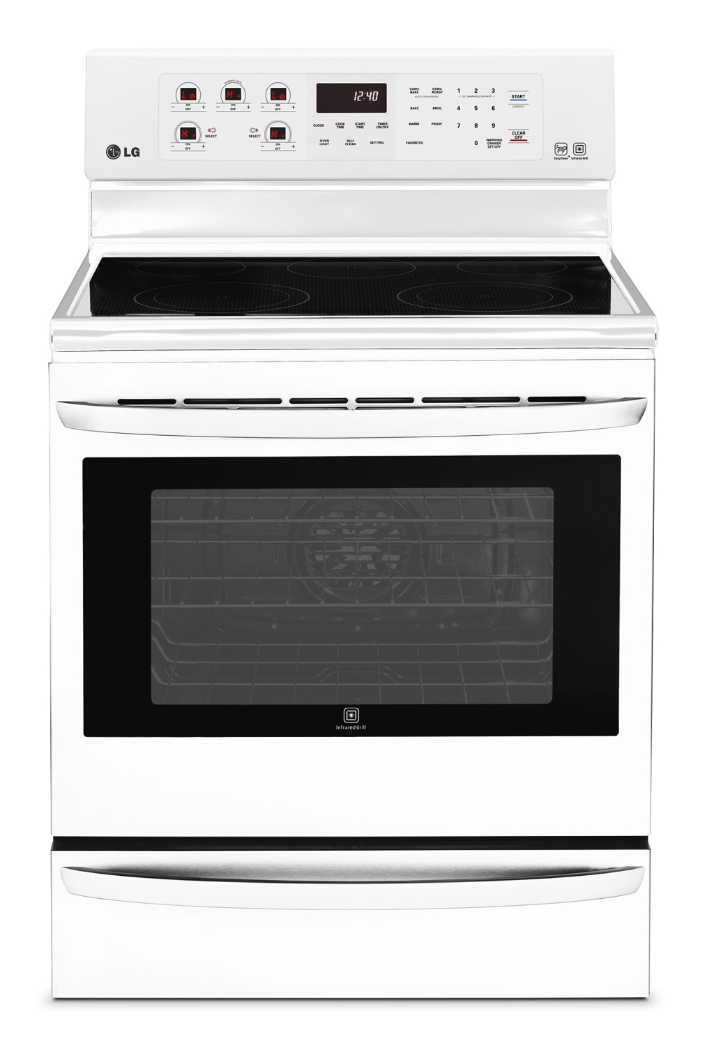 Cooking Products - LG Appliances White Freestanding Electric Convection Range (6.3 Cu. Ft.) - LRE6385SW