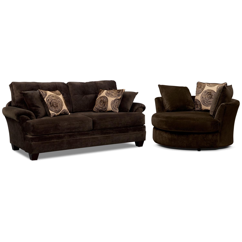 Living Room Furniture - Cordoba Chocolate 2 Pc. Living Room w/ Swivel ...