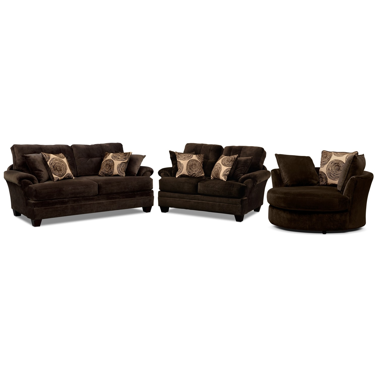 [Cordoba Chocolate 3 Pc. Living Room w/ Swivel Chair]