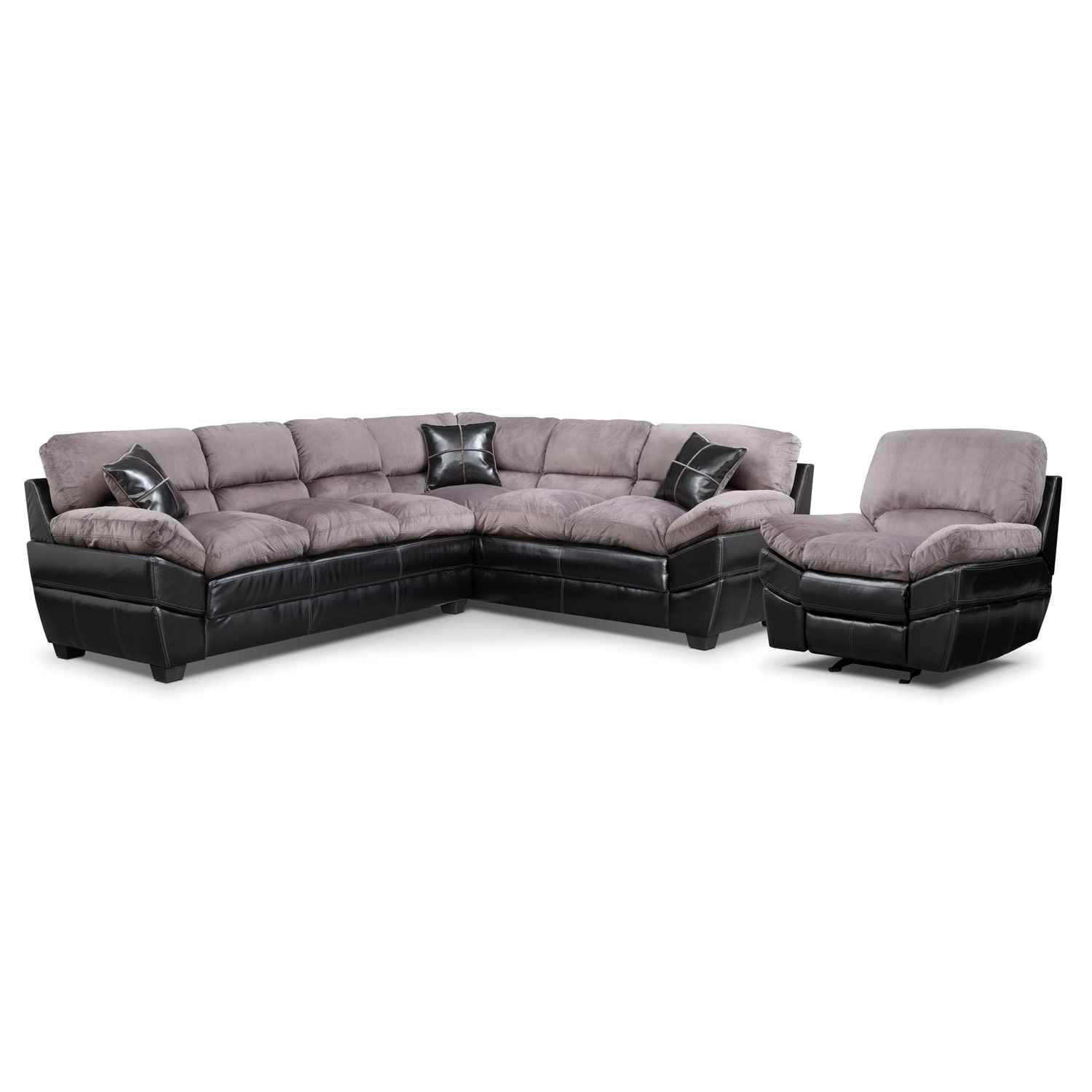 [Chandler Gray II 2 Pc. Sectional and Glider Recliner]