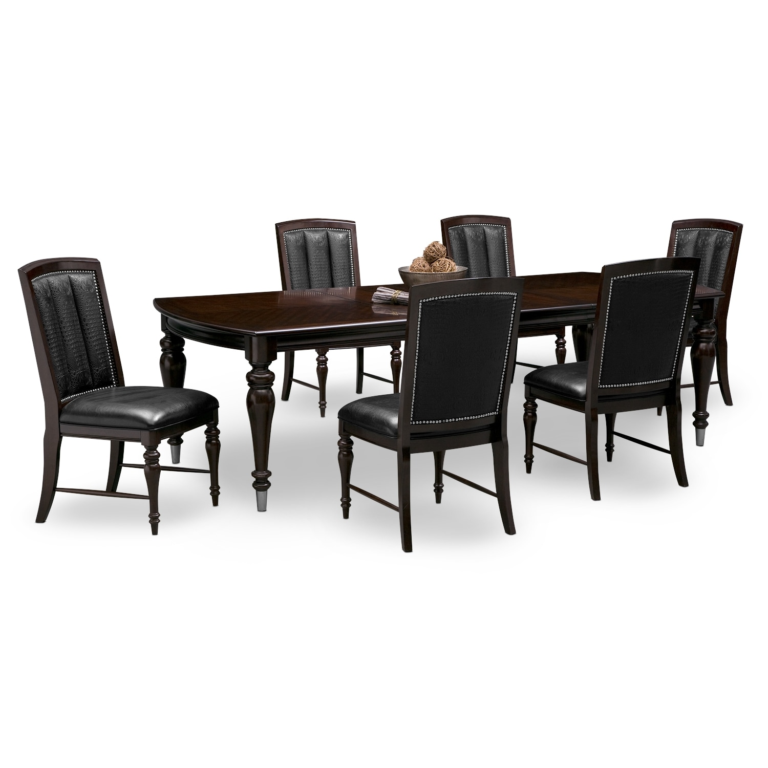 Esquire table and 6 chairs cherry value city furniture for Black dining room furniture