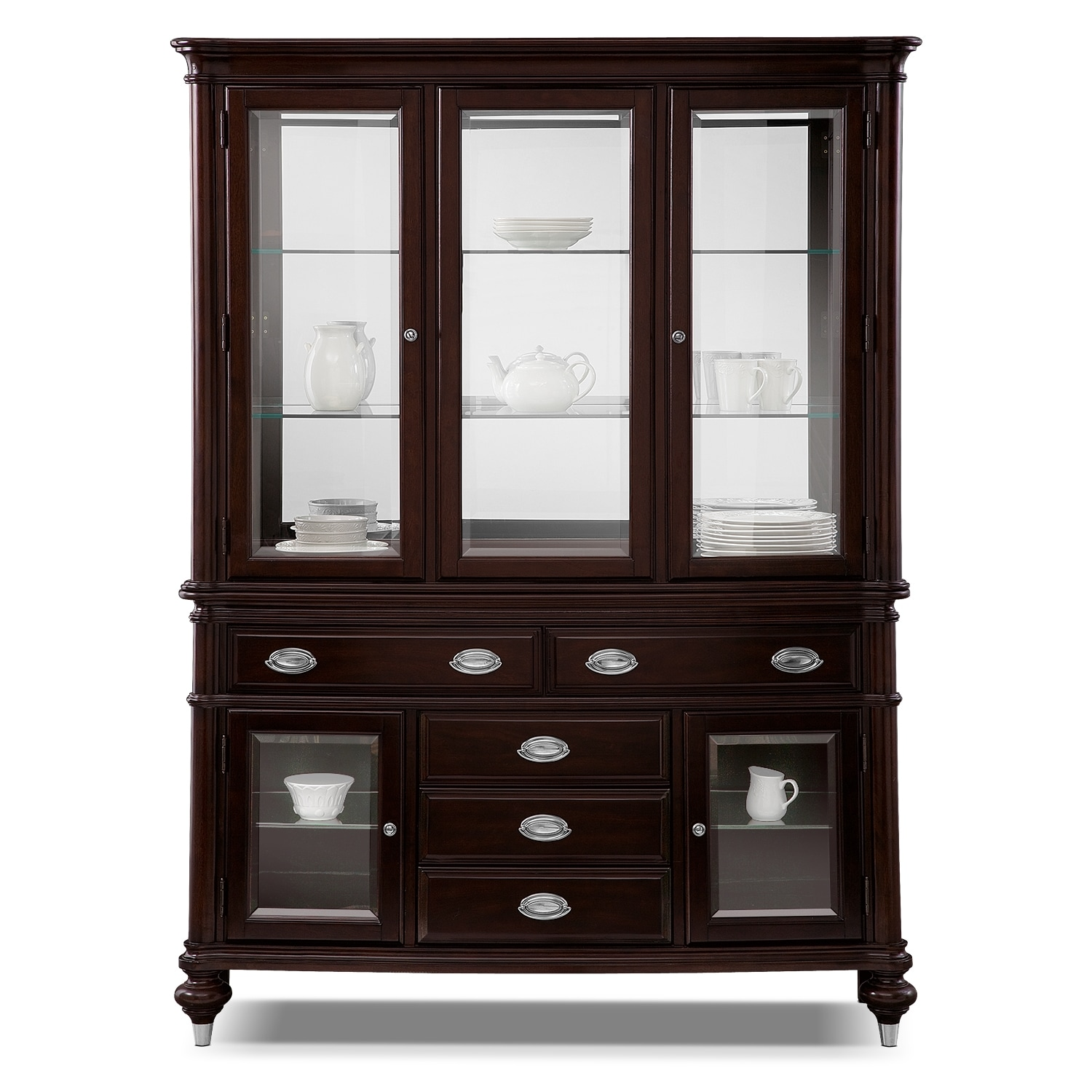 esquire buffet and hutch cherry american signature furniture. Black Bedroom Furniture Sets. Home Design Ideas