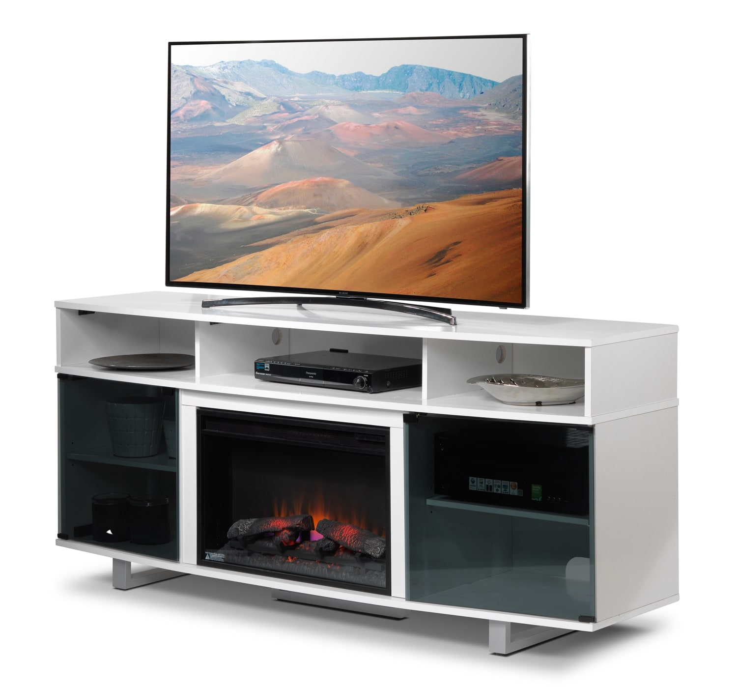 sorenson fireplace tv stand white leon 39 s. Black Bedroom Furniture Sets. Home Design Ideas