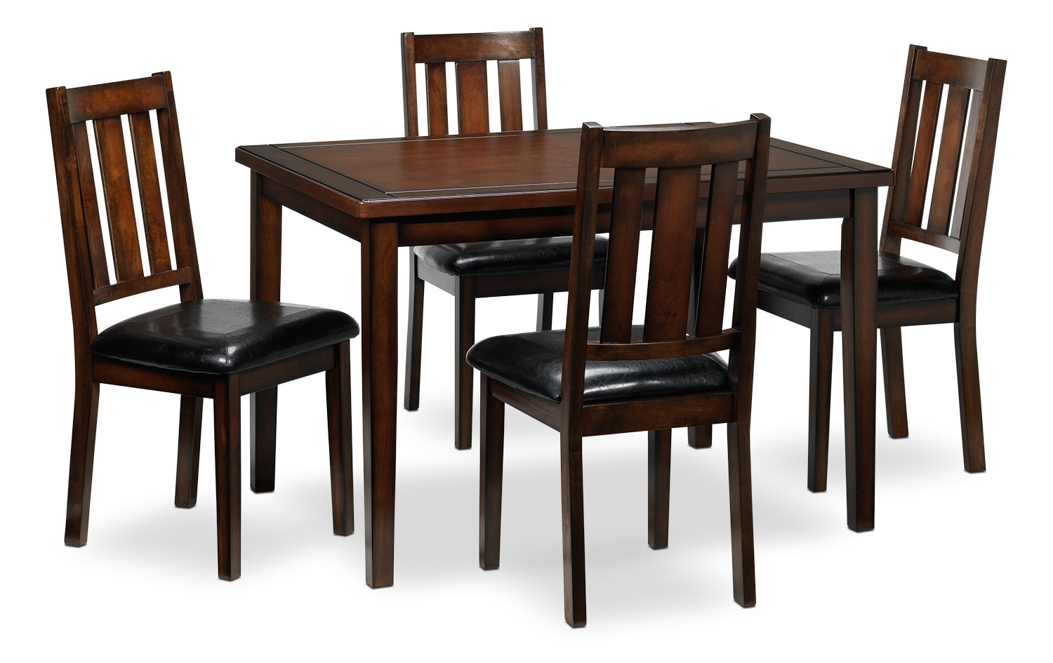 Casual Dining Room Furniture - Boyd 5-Piece Dinette Set - Dark Brown Cherry