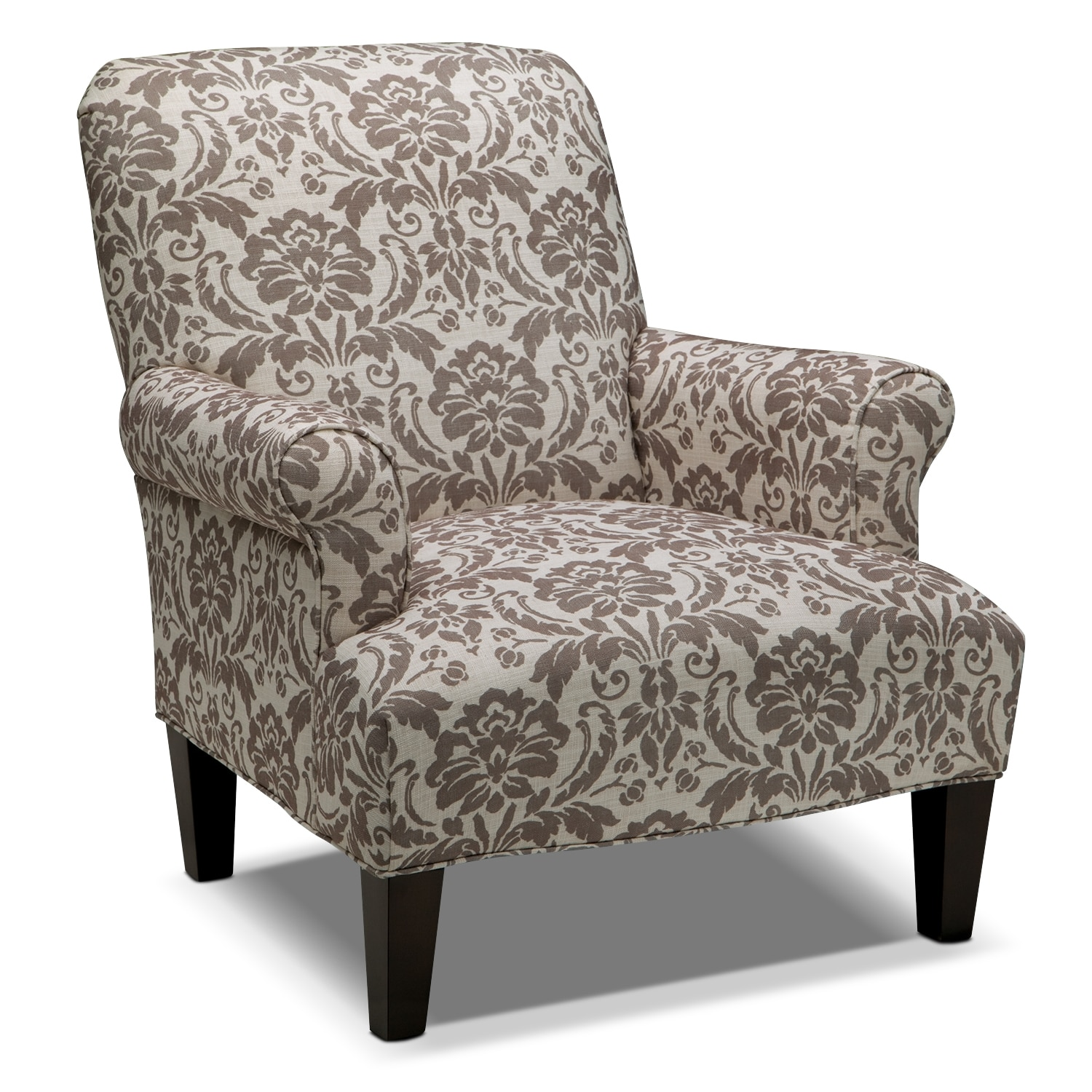 Candice accent chair gray and cream value city furniture for Occasional chairs for living room