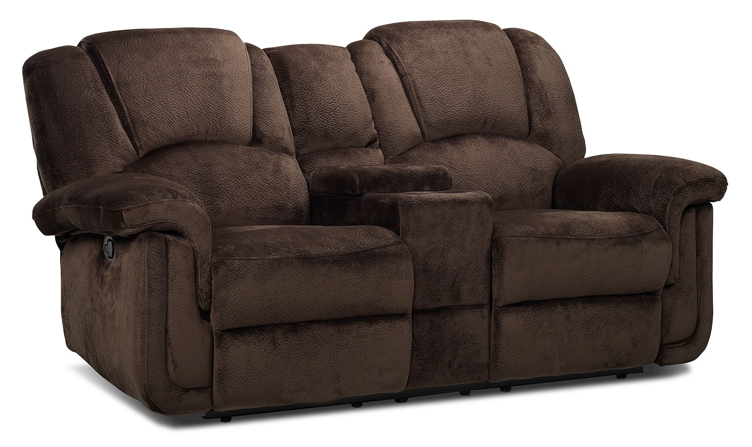 Living Room Furniture - Pitch Reclining Loveseat w/ Console - Espresso