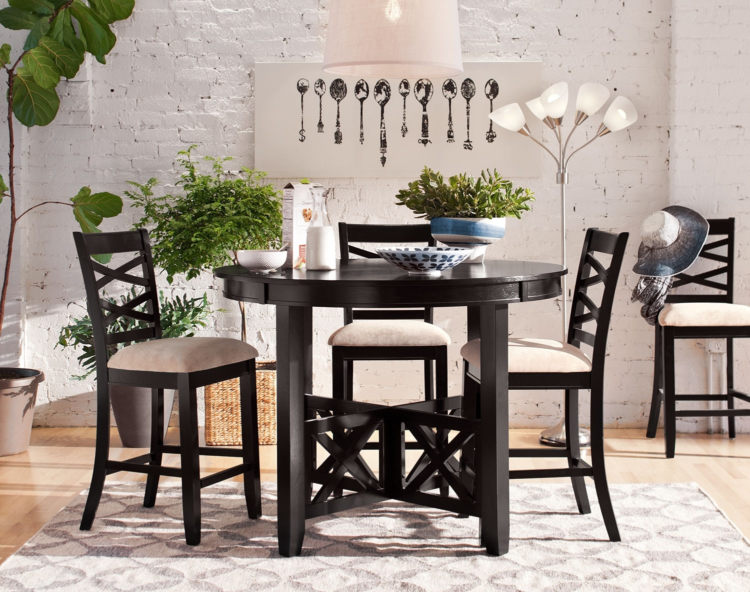 Dining Room Furniture - The Davis Counter-Height Collection - Espresso - 5 Pc. Counter-Height Dinette