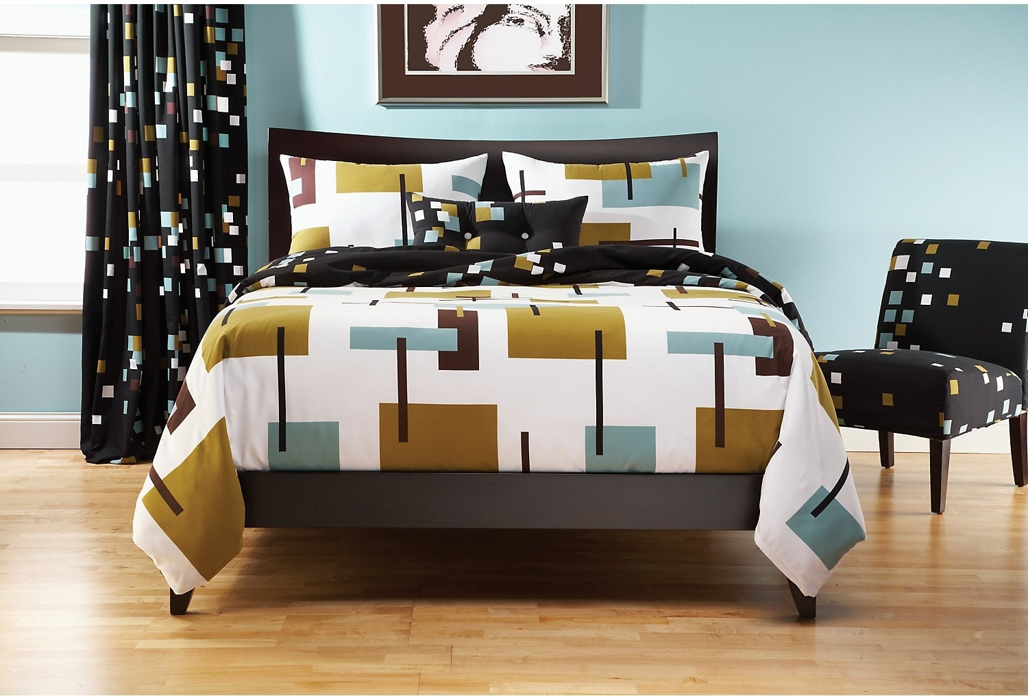 Reconstruction 4 Piece Queen Duvet Cover Set