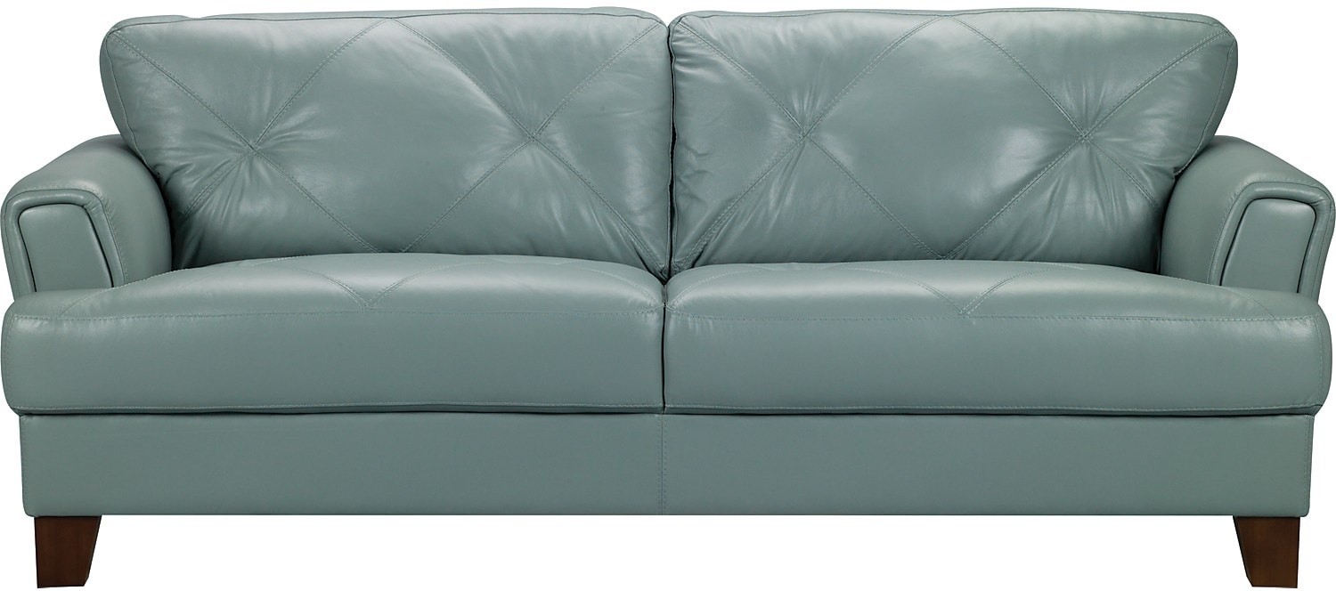 Vita 100% Genuine Leather Sofa - Sea Foam : The Brick