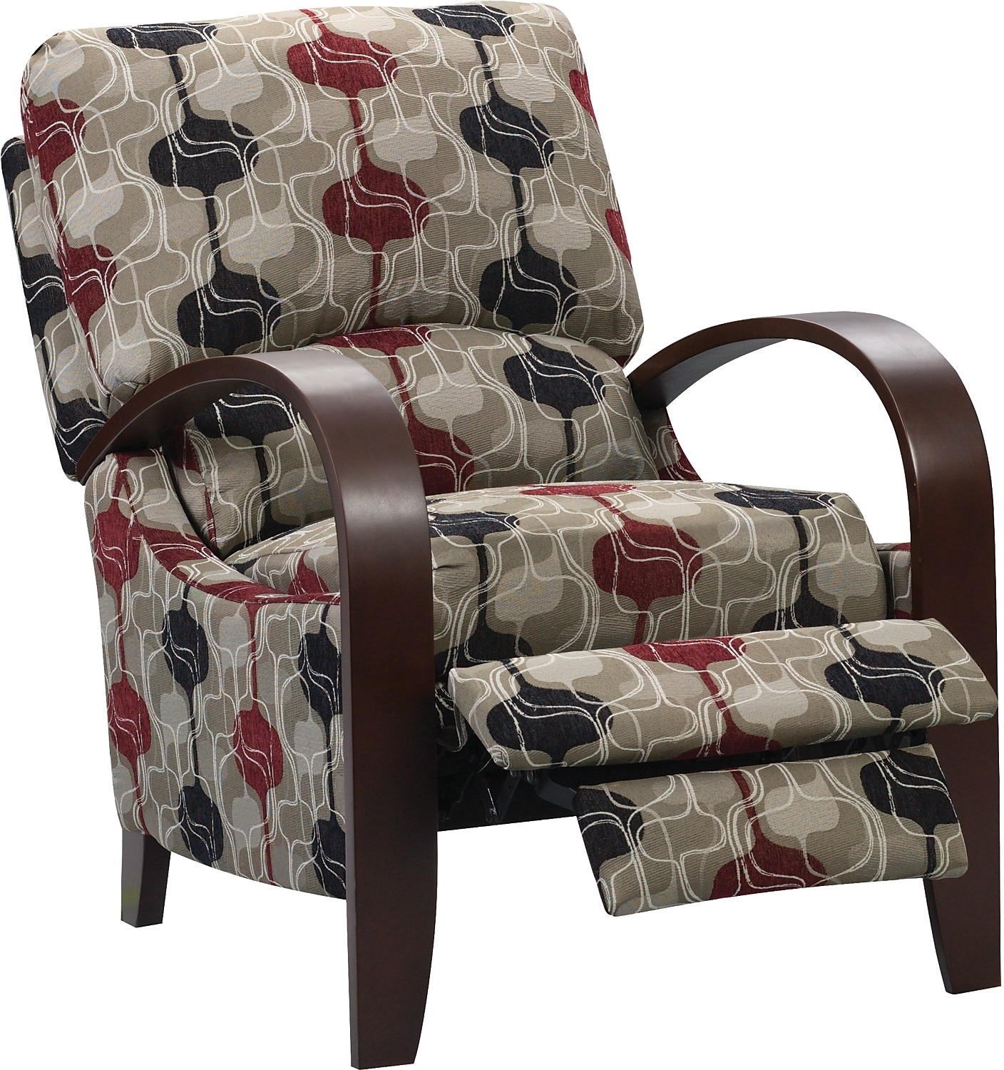 Aaron reclining fabric accent chair lava the brick for Fabric living room chairs
