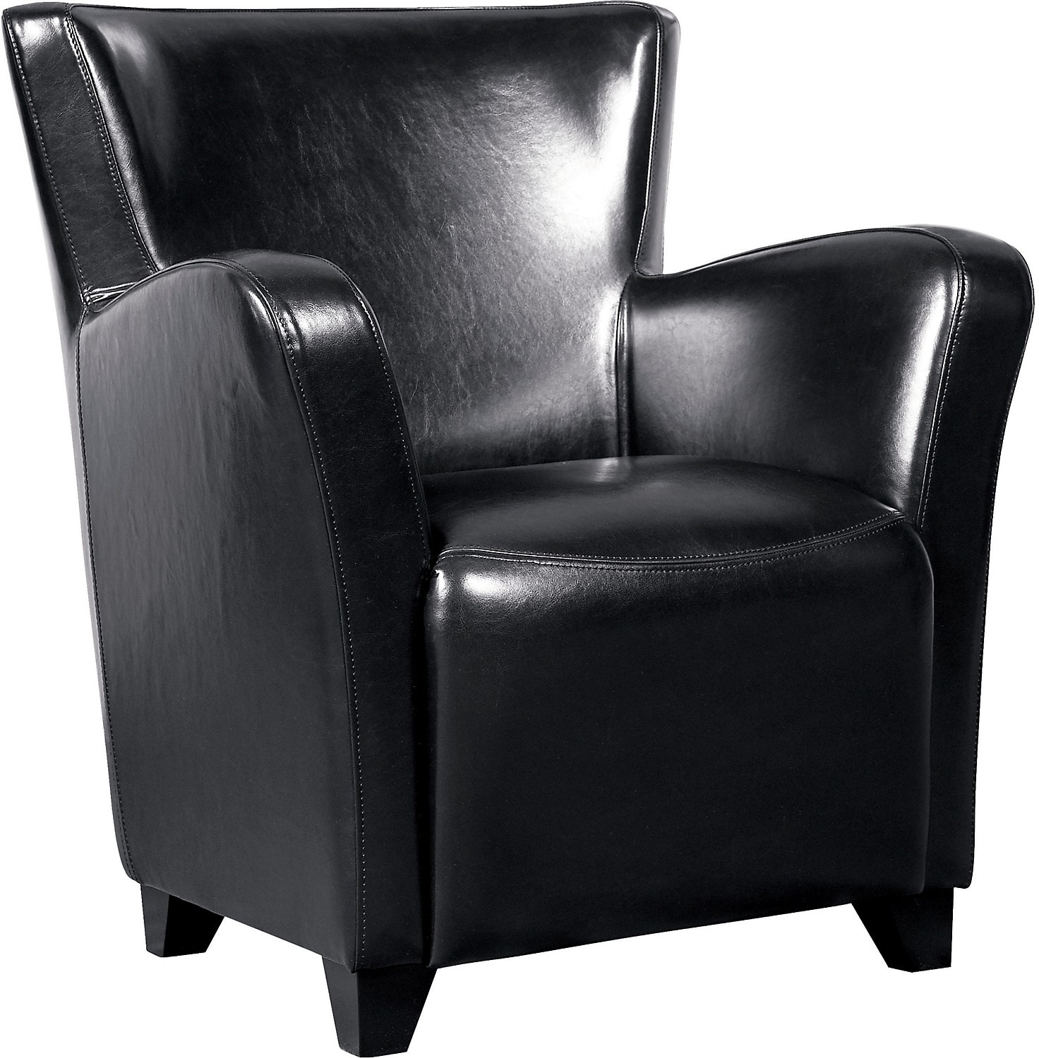 Living Room Furniture - Bonded Leather Chair - Black