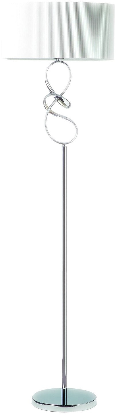 Chrome Floor Lamp with White Shade