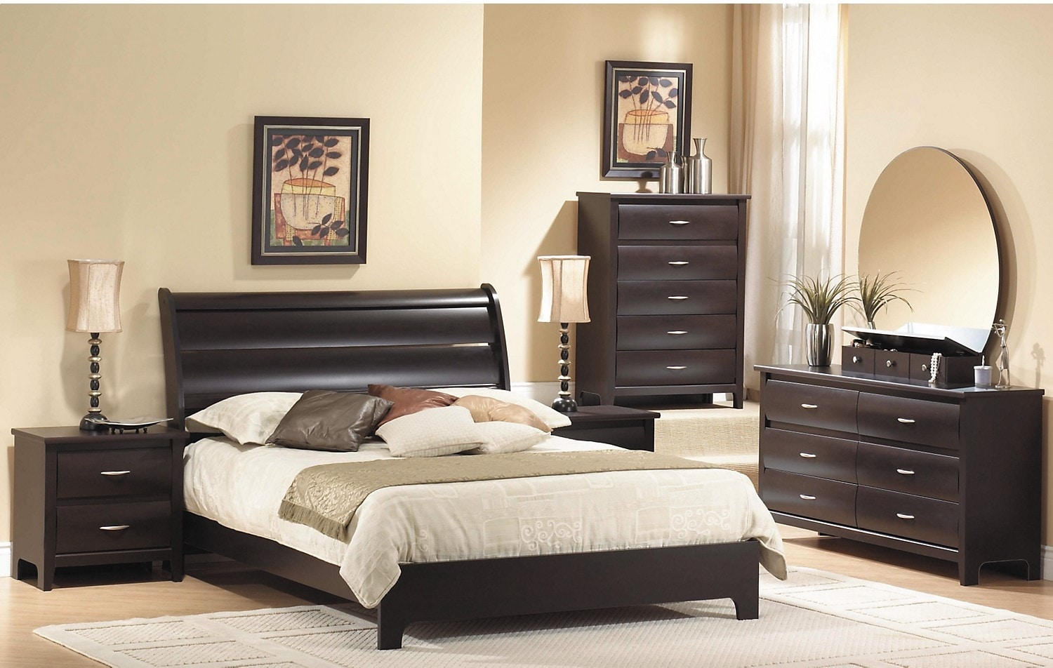 Bedroom Furniture - Mocha Queen Panel Bed
