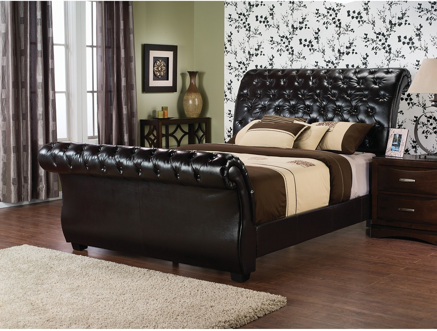 westminster bonded leather queen bed  the brick -  leather queen bed hover to zoom