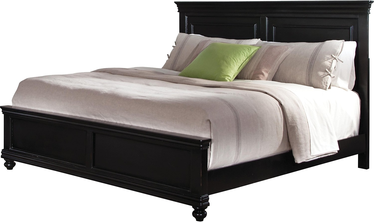 Bridgeport queen bed black the brick for Bedroom set and mattress
