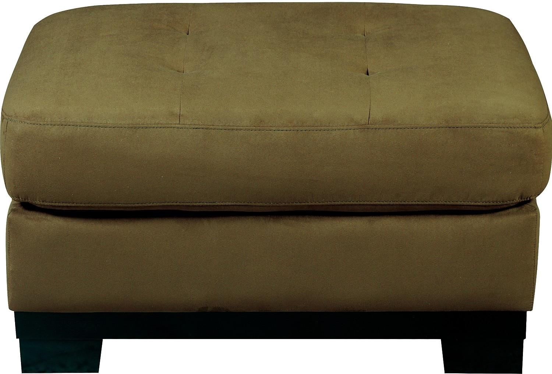 Living Room Furniture - Oakdale Microsuede Ottoman - Peat