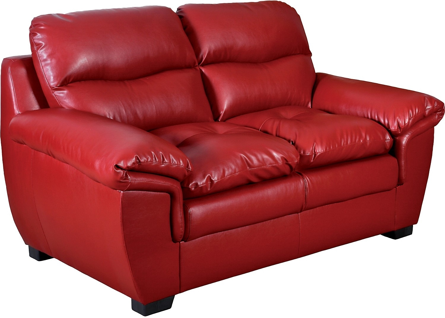 Living Room Furniture - E6 Red Bonded Leather Loveseat