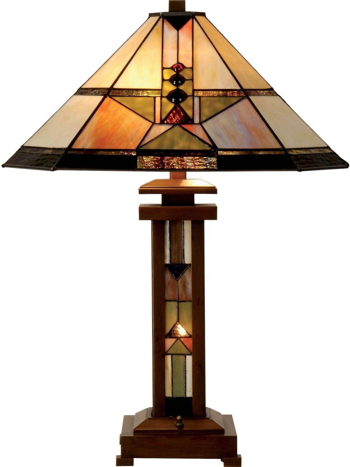 Home Accessories - Drake Table Lamp with Stained Glass Shade