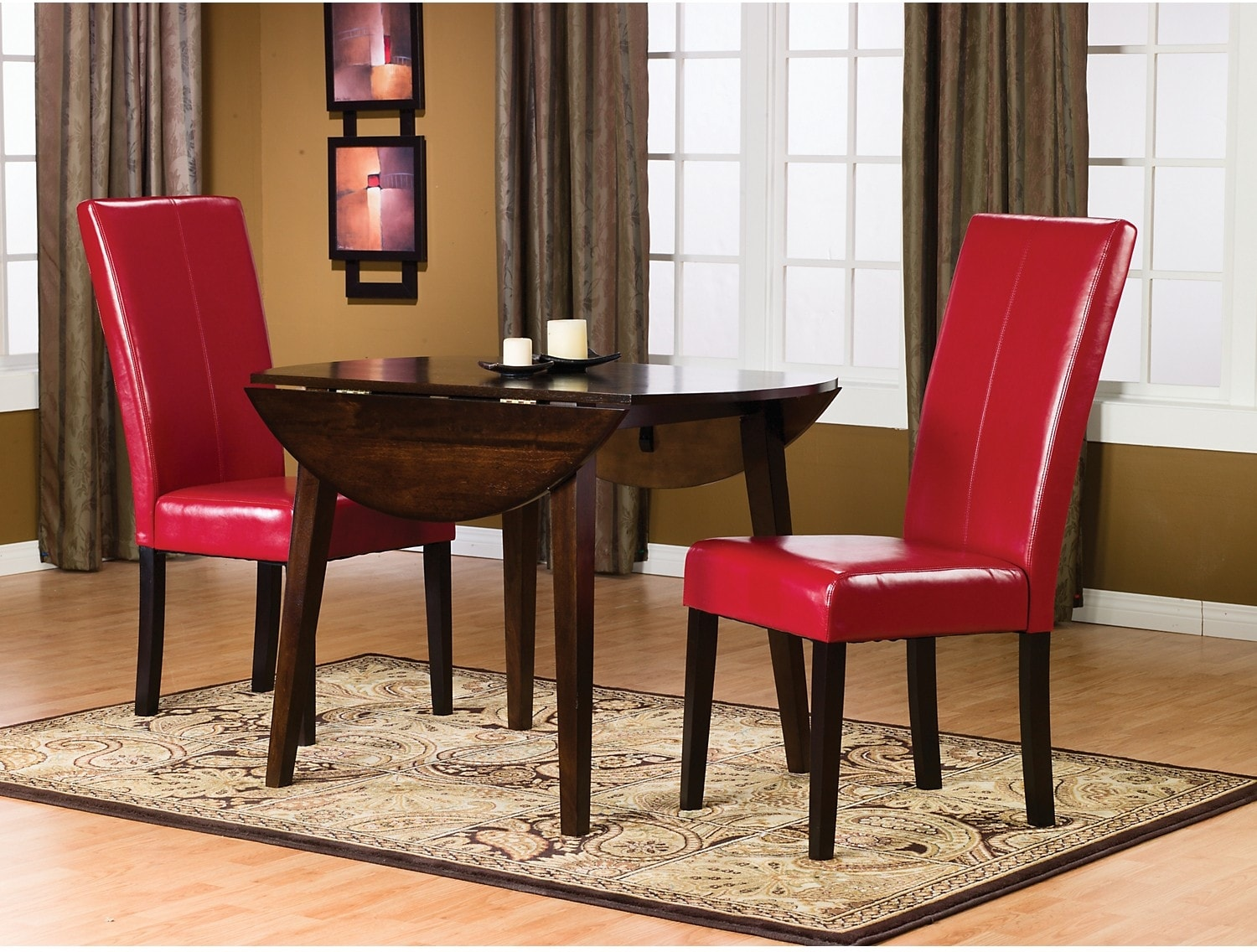 Dining Room Furniture - Dakota 3-Piece Round Table Dining Package w/ Red Chairs