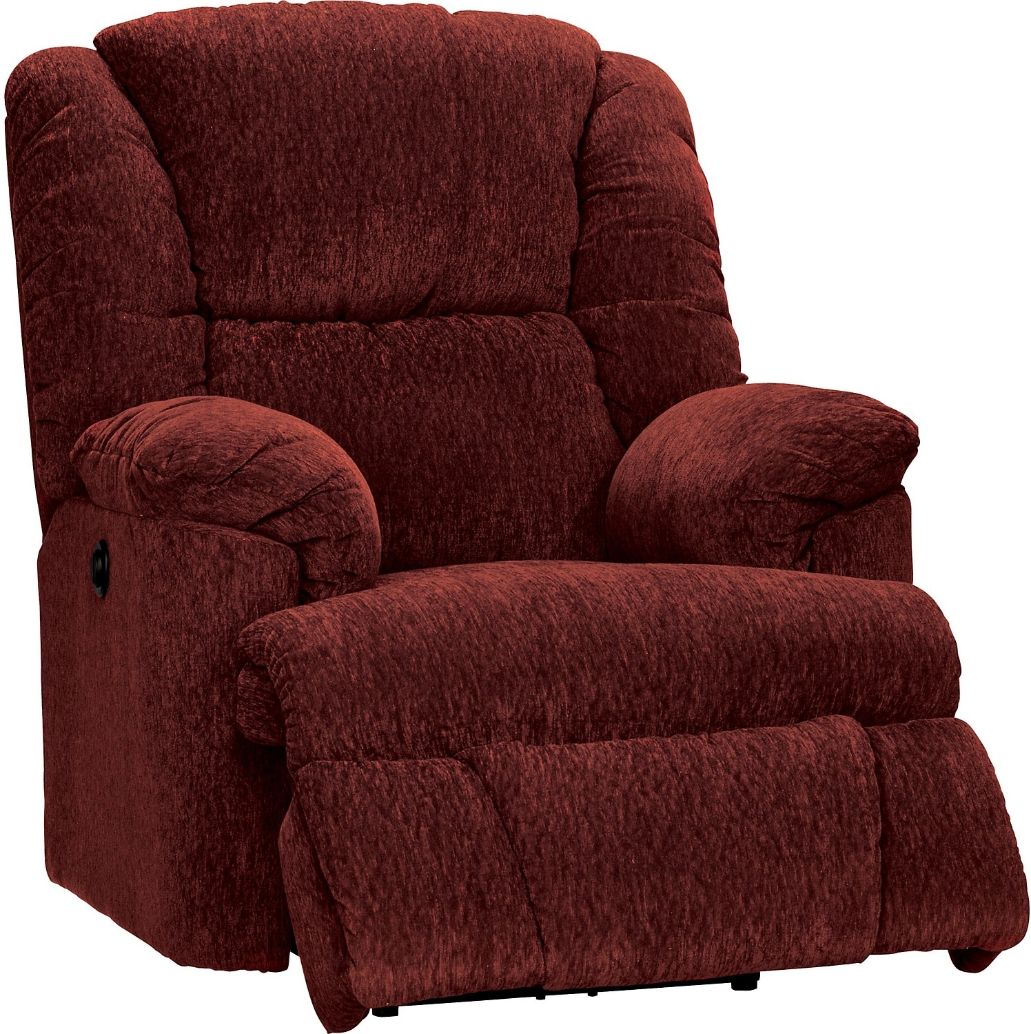 Living Room Furniture - Bmaxx Red Chenille Power Recliner