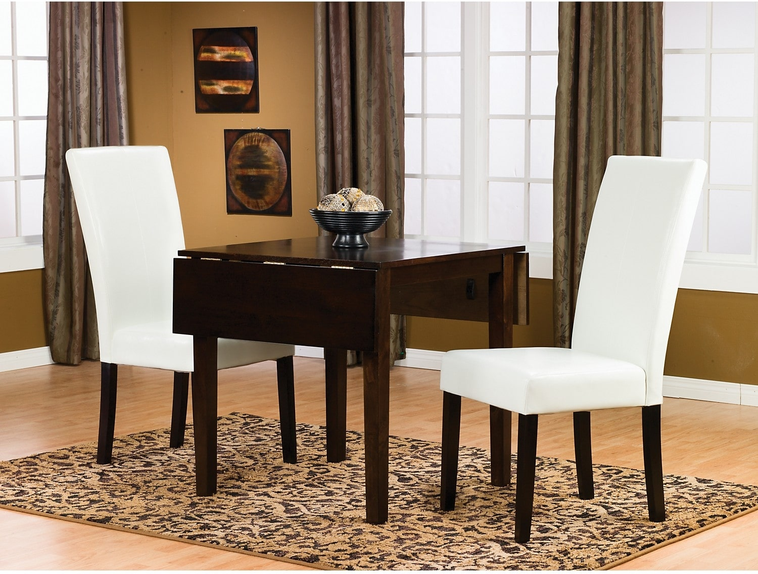 Dining Room Furniture - Dakota 3-Piece Square Table Dining Package w/ White Chairs