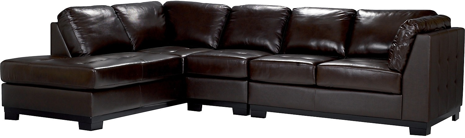Oakdale 3 Piece Brown Leather Left Sectional