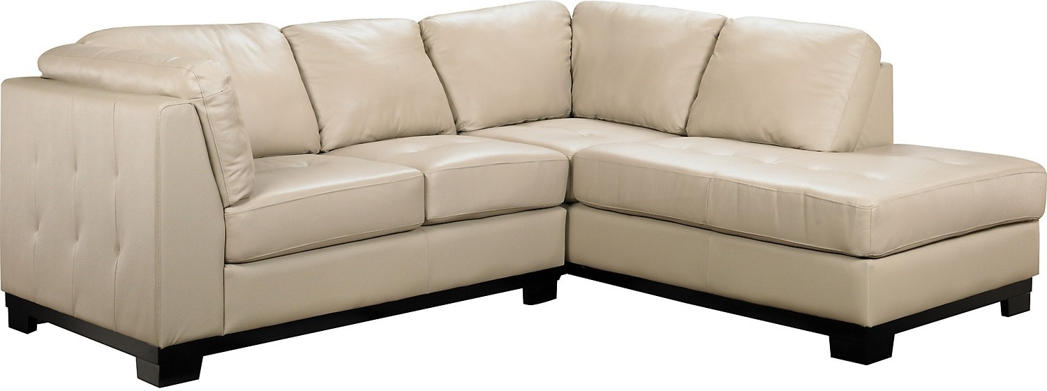 Oakdale 2-Piece Leather Right-Facing Sectional - Taupe