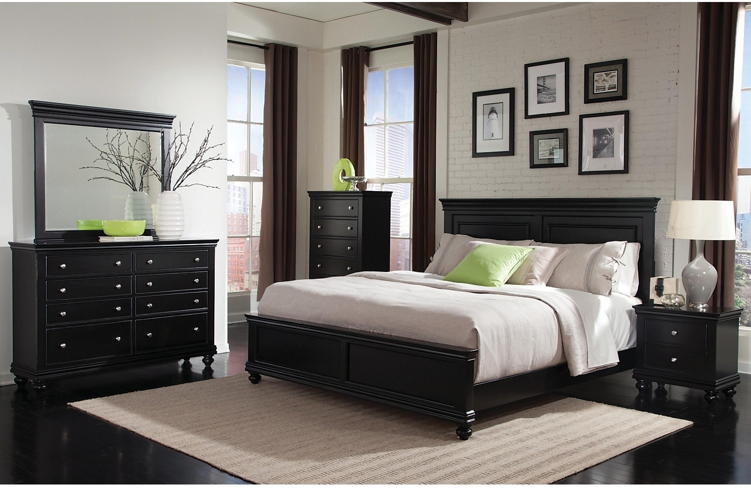 Bridgeport 5 piece queen bedroom set black the brick for Queen furniture set