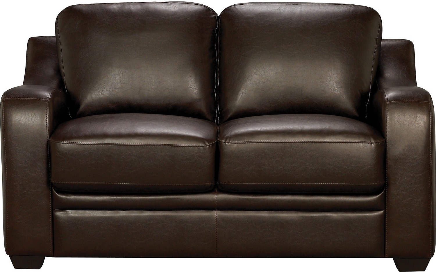 living room furniture chase brown faux leather loveseat