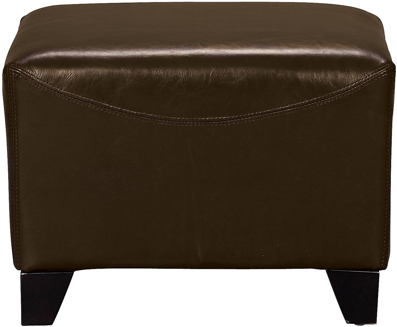 Bonded Leather Ottoman - Brown