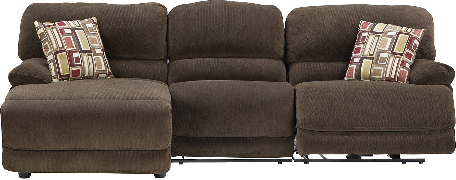 Living Room Furniture - Devon 3-Piece Left-Chaise Sofa Sectional w/ Armless Chair
