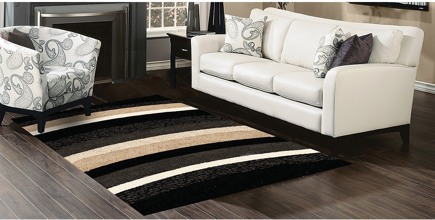 Rugs - Shaggy Black, Beige and Grey Area Rug – 7 'x 10'