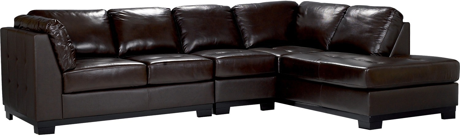 Living Room Furniture - Oakdale 3 Piece Brown Leather Right Sectional