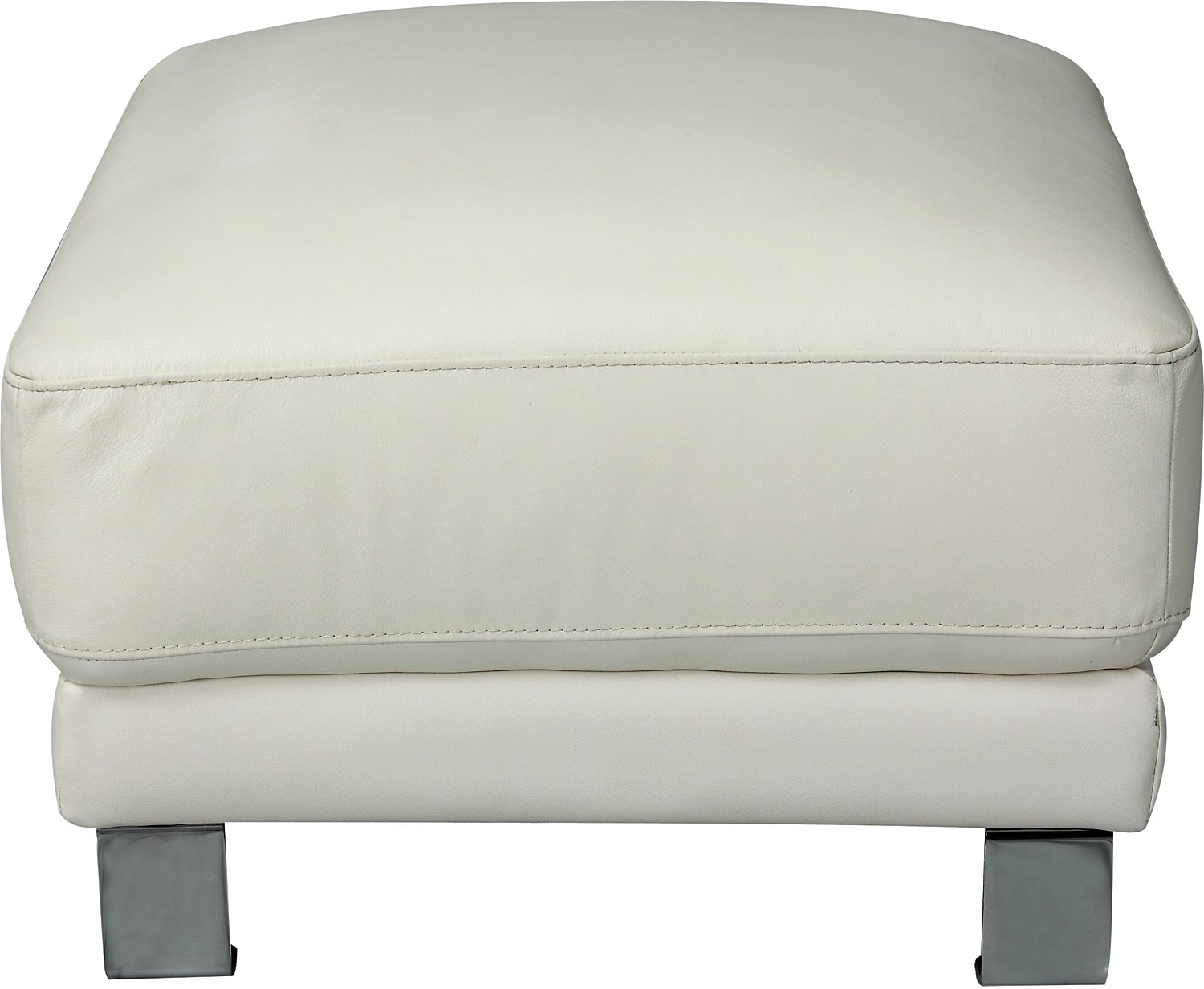 Nico Genuine Leather Ottoman - Ivory