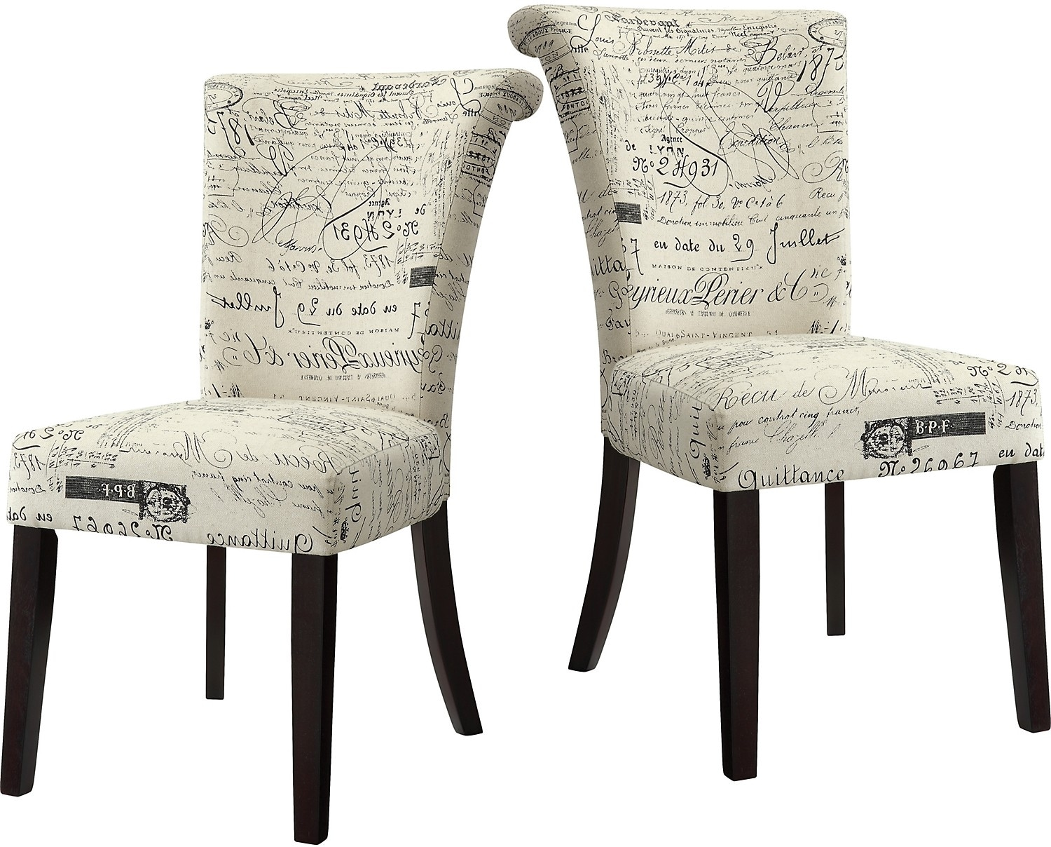 French script piece accent dining chair package the brick
