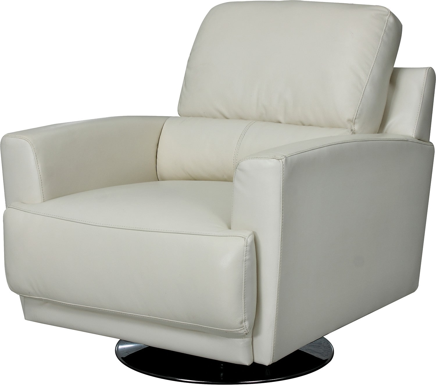 Living Room Furniture - Nico Genuine Leather Swivel Chair - Ivory