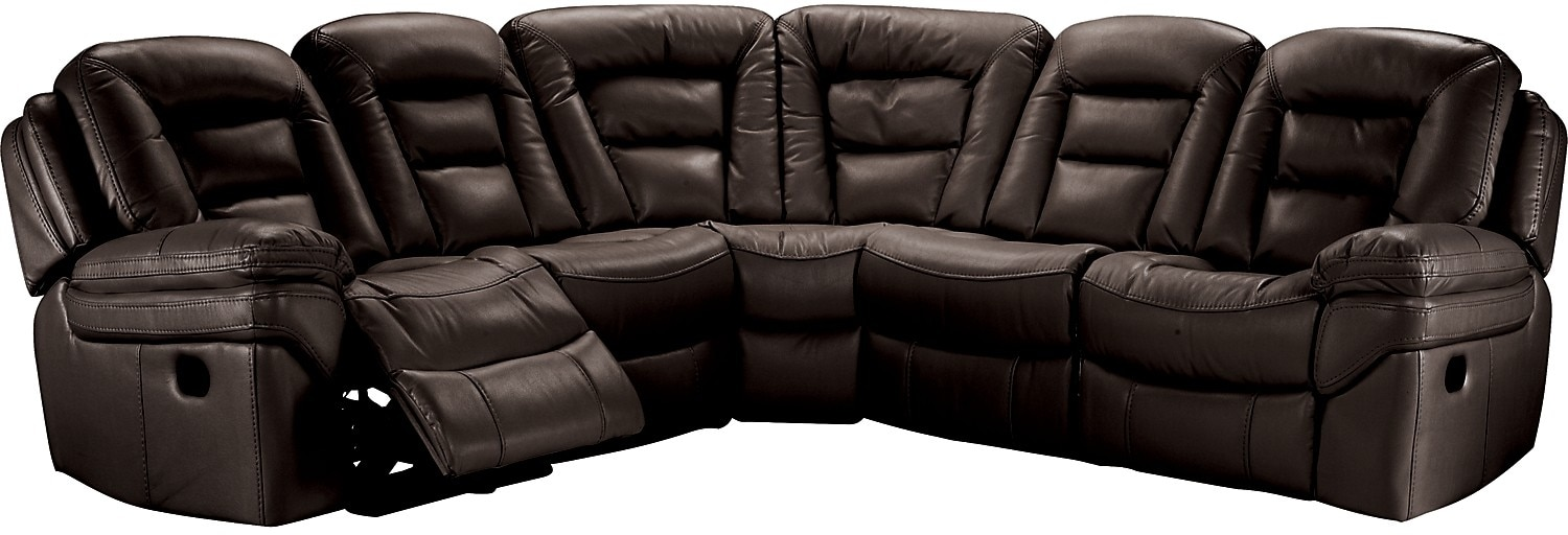 Living Room Furniture - Leo Leathaire 5-Piece Reclining Sectional - Walnut