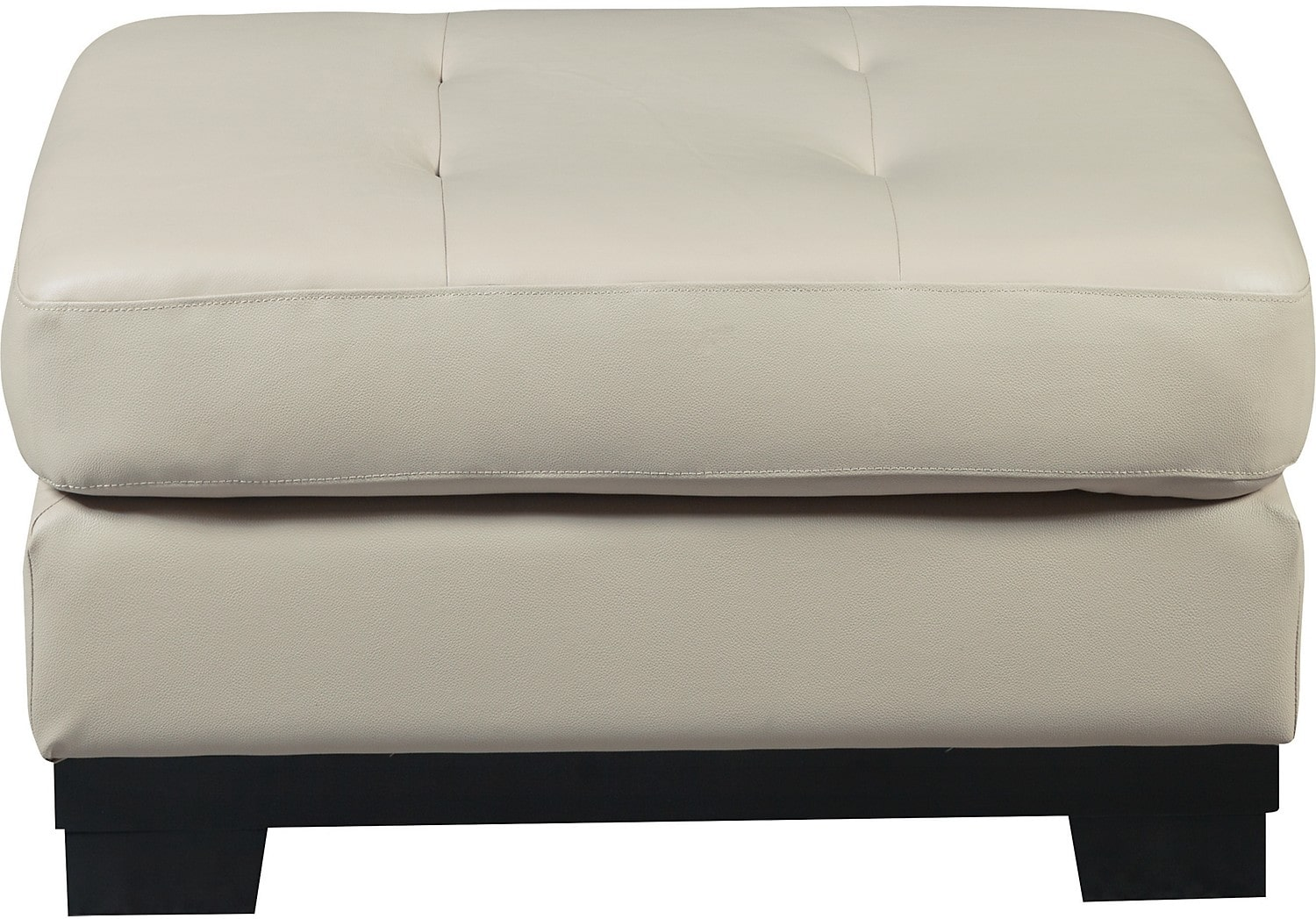 Living Room Furniture - Oakdale Genuine Leather Ottoman - Taupe