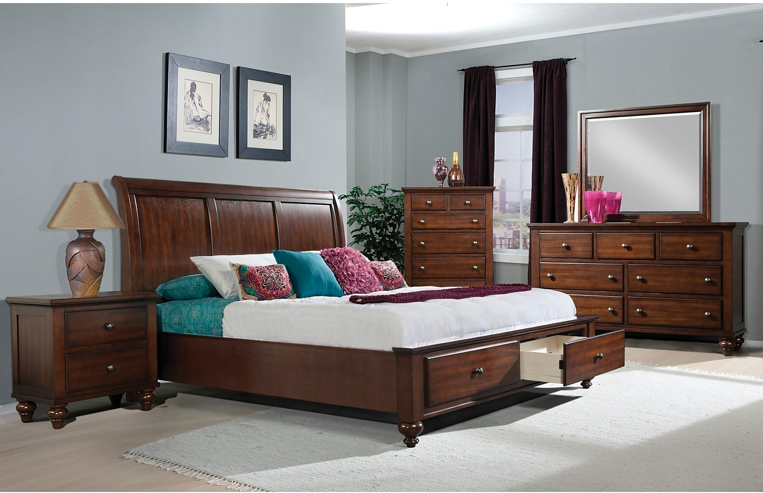 Bedroom Furniture - Kennedy 7-Piece King Storage Bedroom Package