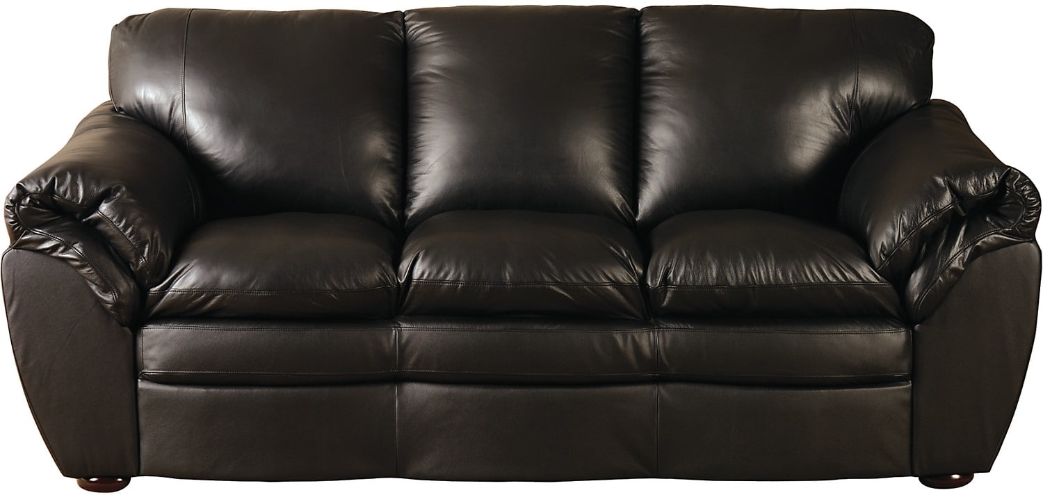 Living Room Furniture - Black 100% Genuine Leather Sofa
