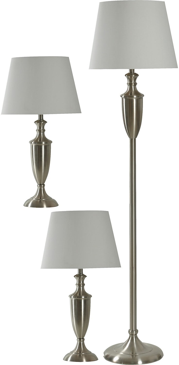 Home Accessories - Brushed Steel 3-Piece Floor and Two Table Lamps Set