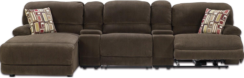 Living Room Furniture - Devon 5-Piece Sofa Home Theatre w/2 Consoles